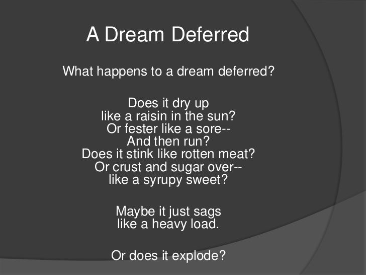 dreams and additionally dreams deferred