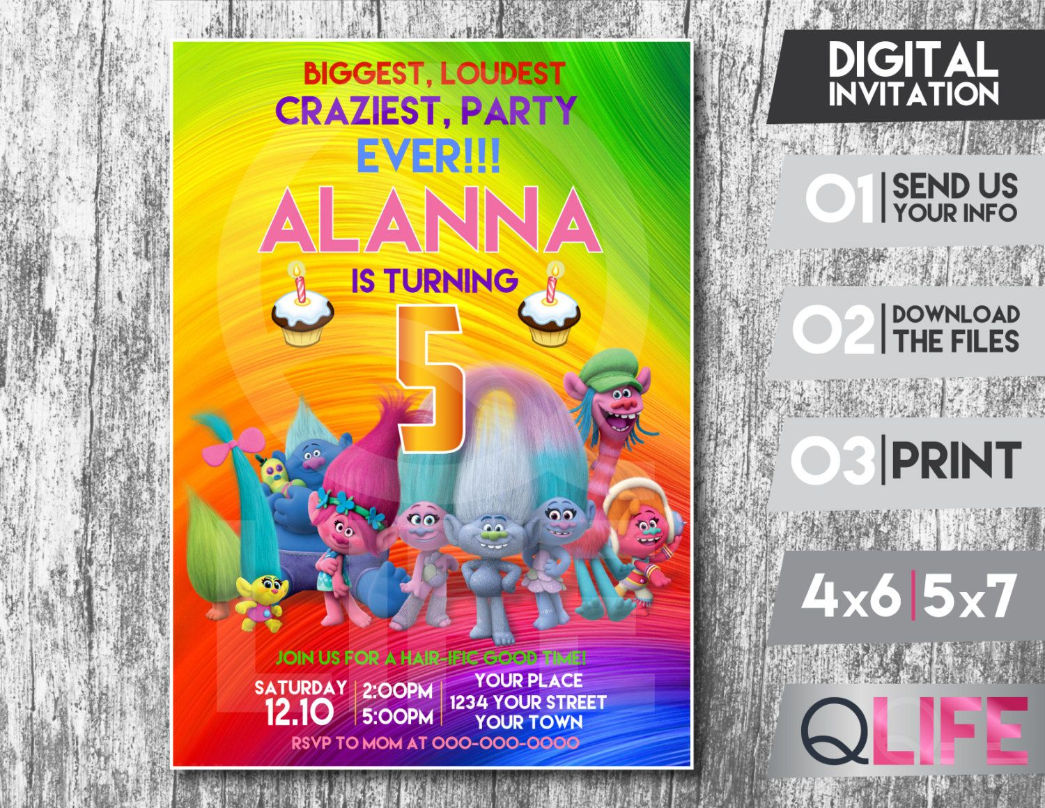 Etsy product troll party birthday party ideas and 50th party trolls digital invitation card personalized invitation trolls party trolls digital invitation stopboris Gallery