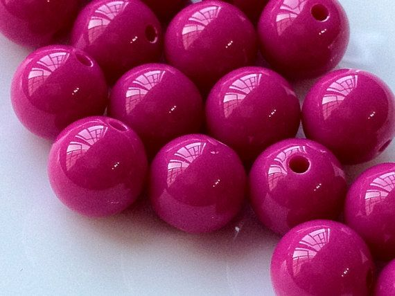 12 Mm Opaque Hot Pink Color Round Shape Candy Acrylic Beads U