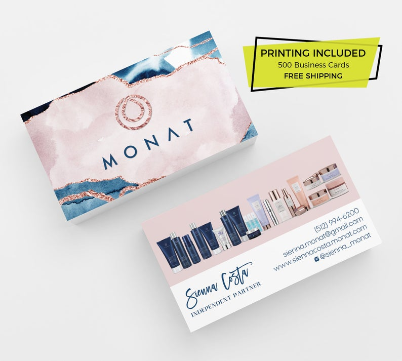 Rose Gold Monat Business Cards 500 Printed Business Cards Personalized Calling Card Template Hair Care Card Marketing Skincare Navy Pink Calling Card Template Printing Business Cards Business Card Design