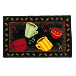 NEW KITCHEN MAT DOOR MAT FLOOR RUG Coffee Cups CUP ACCENT RUGS GREEN RED  YELLOW