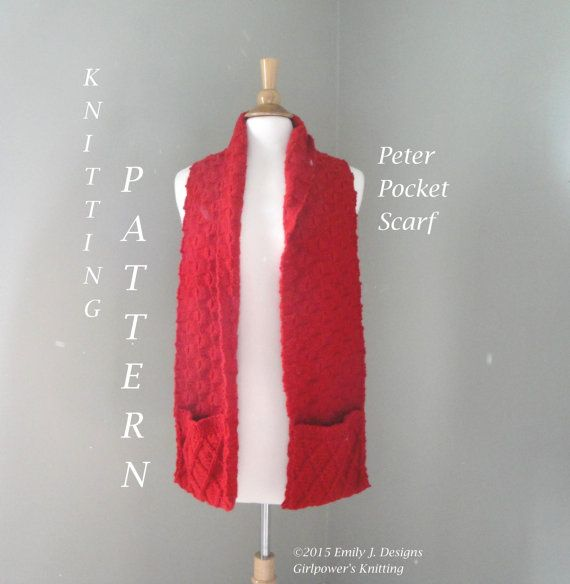 Peter Pocket Scarf Knitting Pattern Cabled Pattern & by Girlpower ...