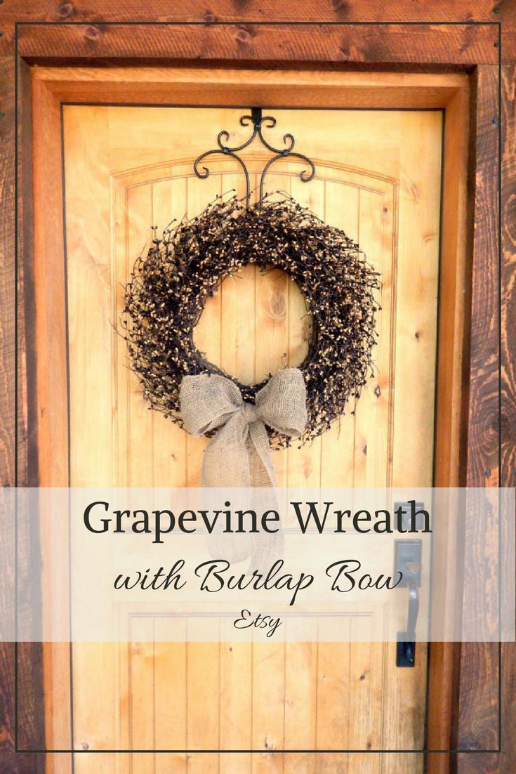 Fall Wreath-Fall Decor-BURLAP Black & Tan Wreath-LARGE Grapevine ...