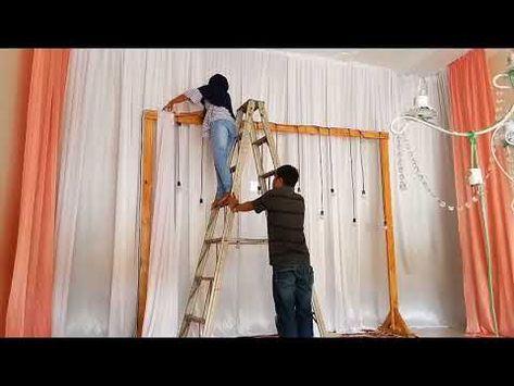 diy simple rustic backdrop decoration   tutorial dekorasi