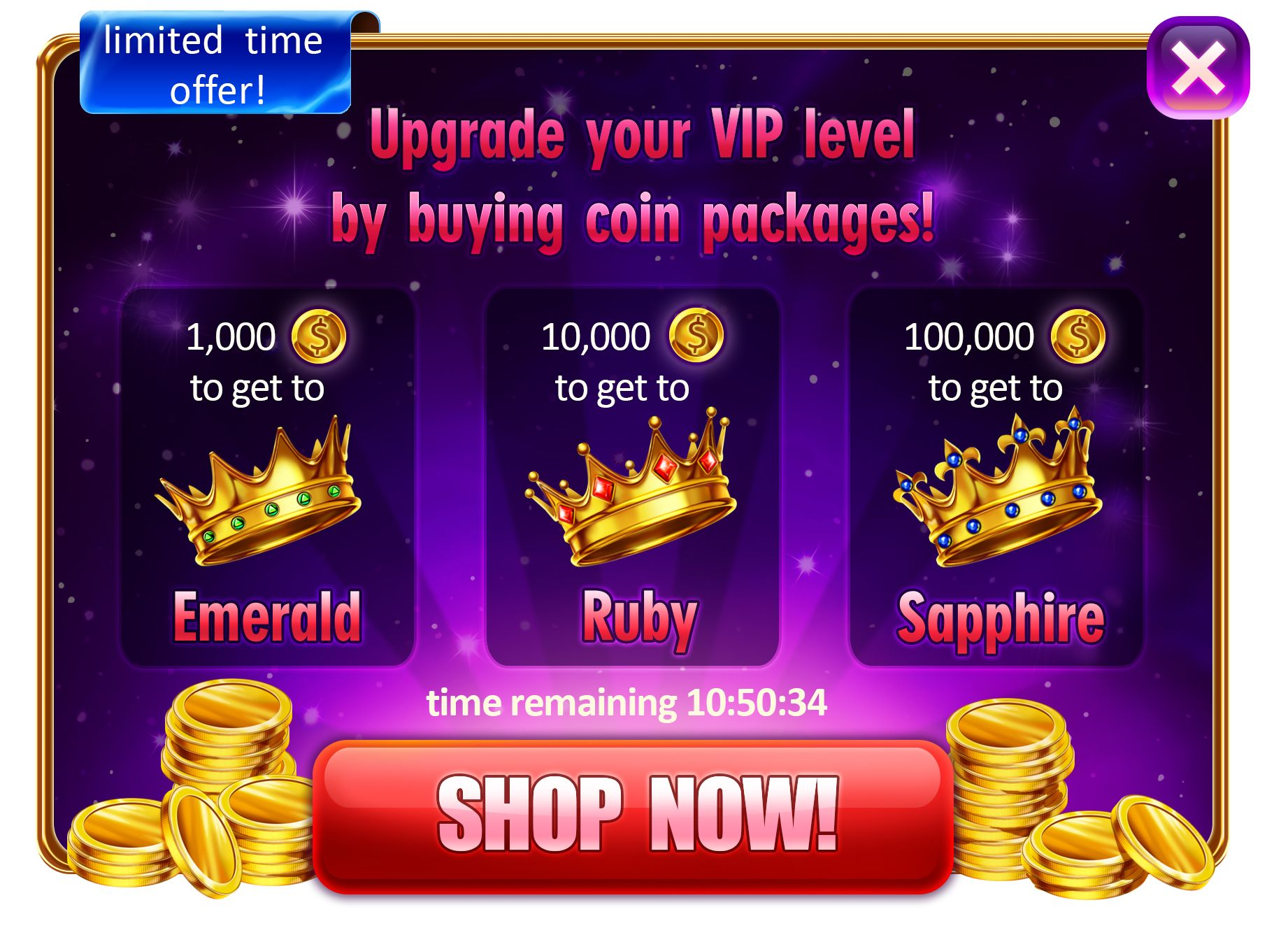 Development Of Promotional Screen Crowns Buttons And Interface