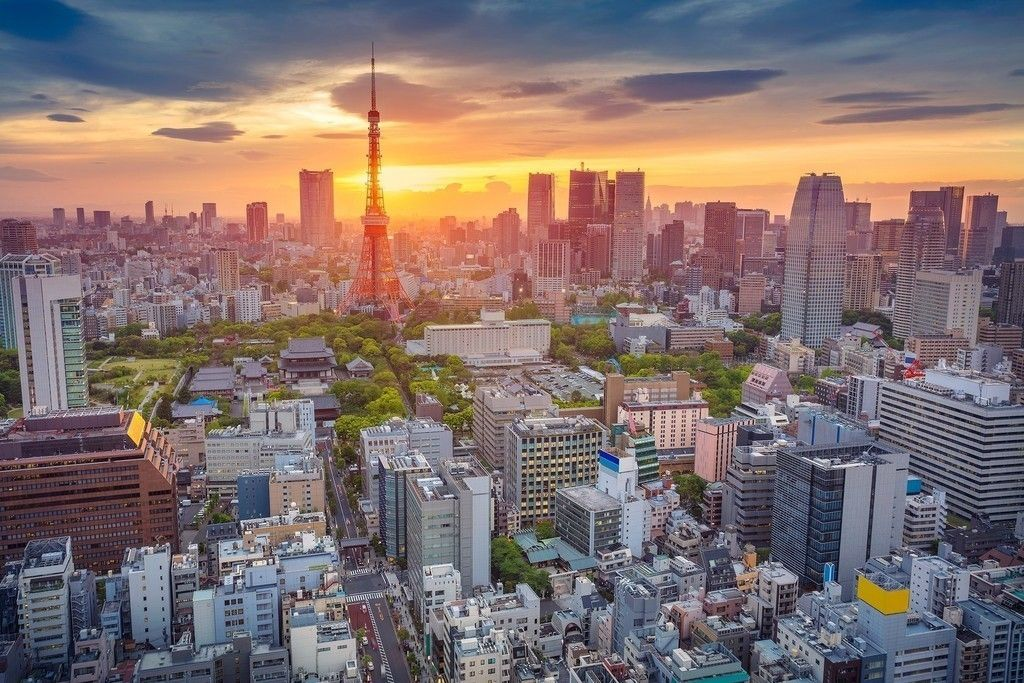 Tokyo city, sunset, buildings, aerial view wallpaper