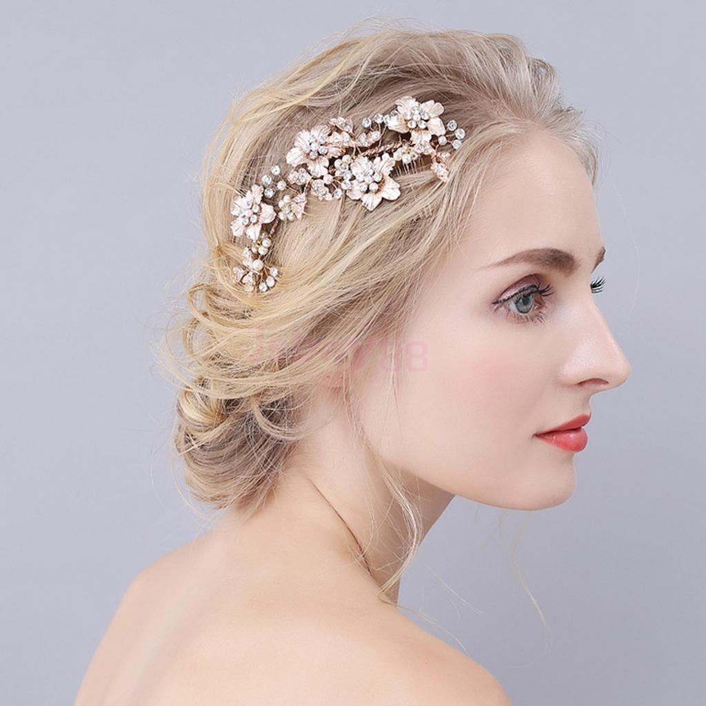 Silver Crystal Pearls Flower Wedding Bridal Hair Pin Hairpin Hair