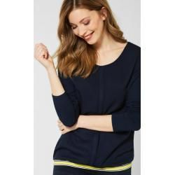 Cecil – Shirt mit Materialmix in Deep Blue Cecil