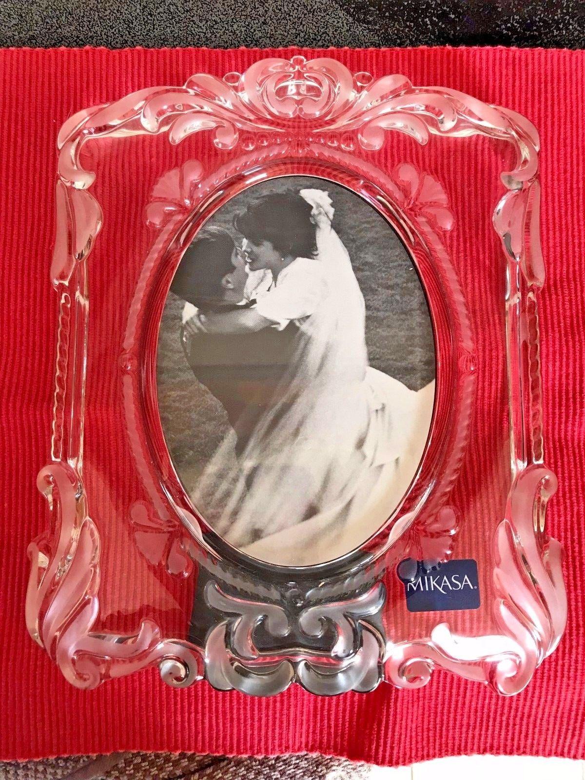 NWOB LARGE MIKASA PRINCESS GLASS PHOTO PICTURE FRAME SA 751-829 ...
