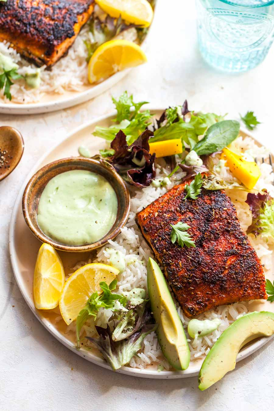 Blackened Salmon with Coconut Rice and Avocado Ranch