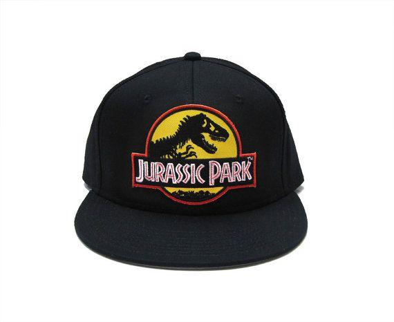 Jurassic Park Movie Logo Yellow Patch Flat Bill Snapback by TYGP ... 2363986d001