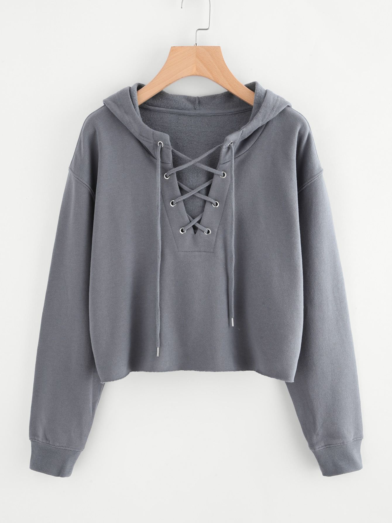 Drop Shoulder Eyelet Lace Up Sweatshirt
