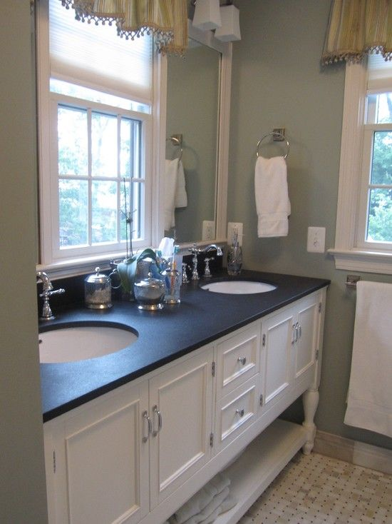 Black Countertop White Vanity Wall Color Traditional Bathroom Black Granite Countertops Black Bathroom