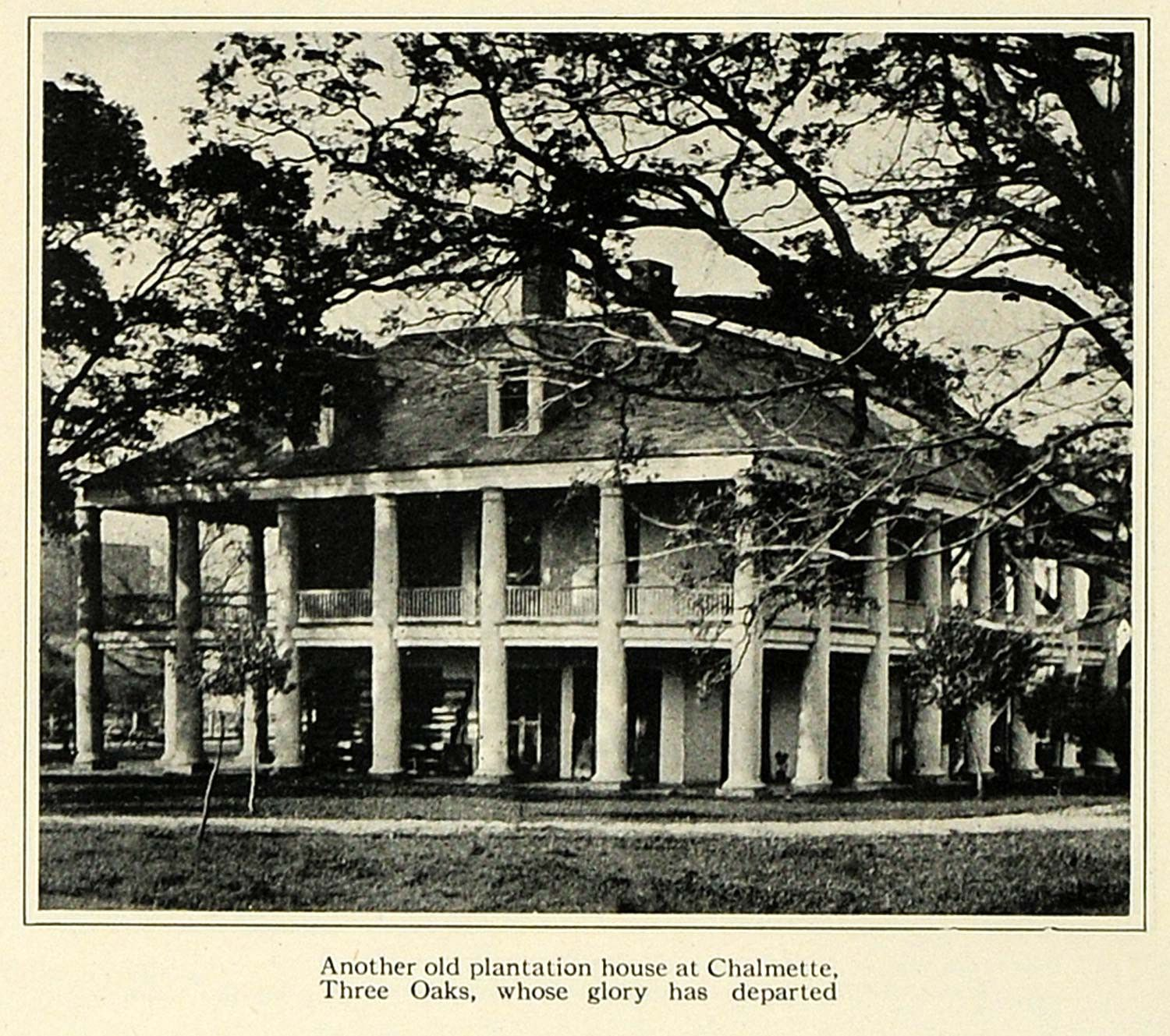 Outfit A Southern Plantation Style Home: 1923 Print Historic Plantation House Chalmette Three Oaks