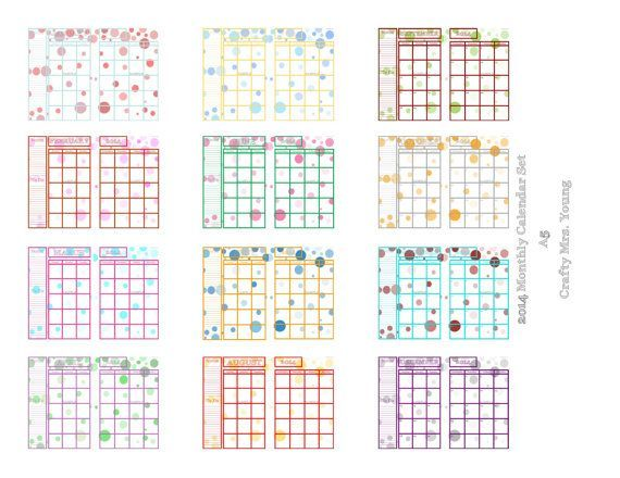 Free Filofax A5 Calendar Printables 2014 crafts Pinterest - printable monthly calendars