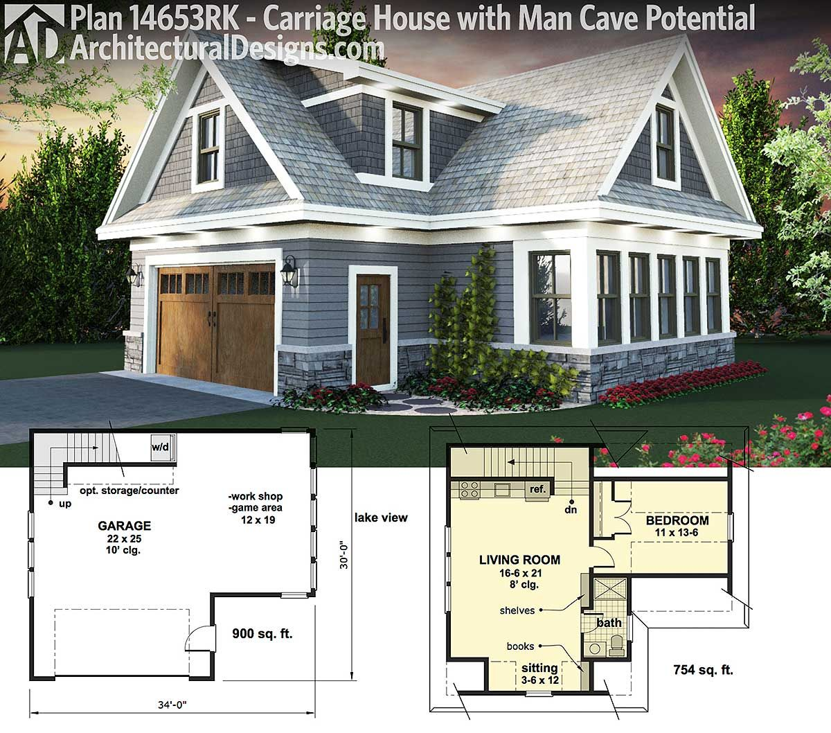 Plan 14653rk carriage house plan with man cave potential for Small cottage plans with garage