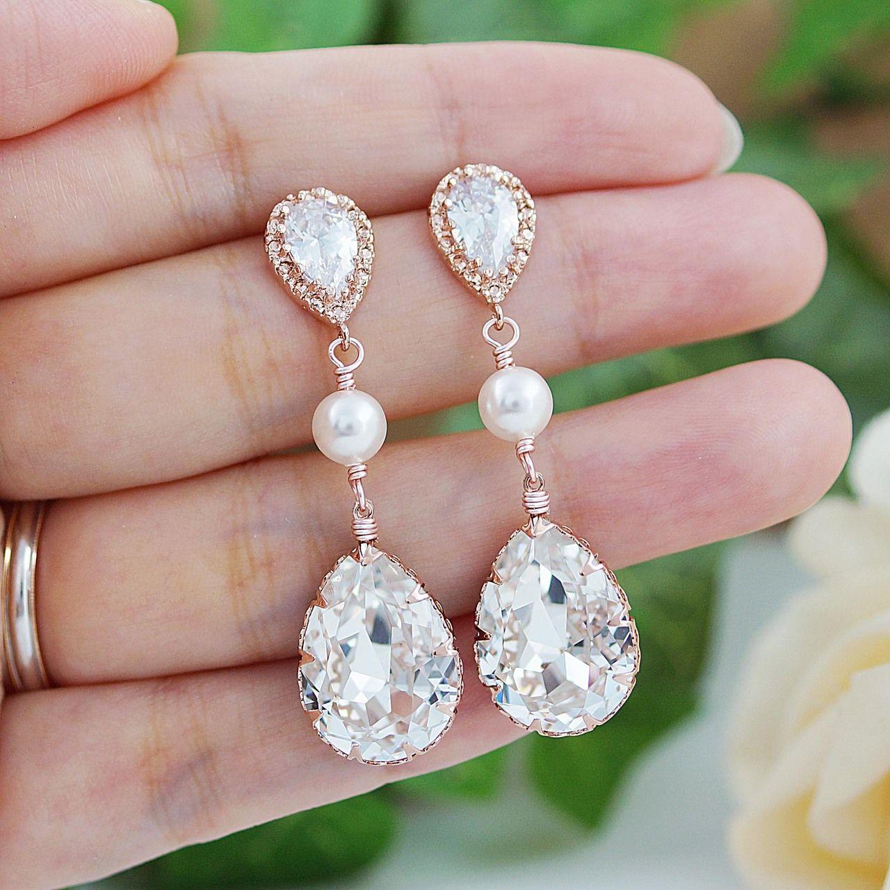 Swarovski Crystals with Swarovski Pearls Rose Gold Bridal Earrings ...