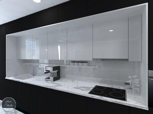 Projekt Kuchni Jako Integralnej Czesci Salonu Kuchnia Wykonczona Czernia W Macie Biela W Polysku I Bathroom Mirror Lighted Bathroom Mirror Kitchen Cabinets