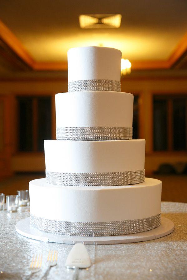 Black Silver White Elegant New Years Eve Wedding Wedding Cake