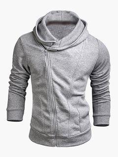 Cierre cierre mezcla con capucha de algodón para hombre  75c6ba1c0058c