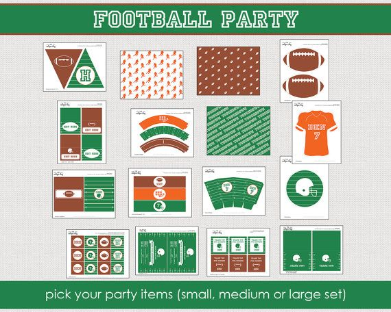 Football Party Collection  Printable Party by theuniqueday on Etsy