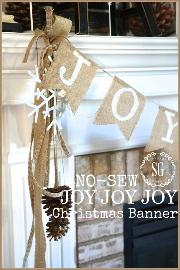 No Sew Joy Christmas Banner Farmhouse and Vintage