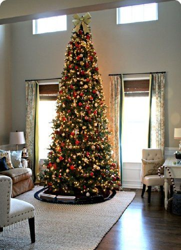 12 ' Ft Tall Artificial Slim Christmas Tree W/1100 Lights Stunning! http: - Pin By Derek @ Newspaper Cat On All Around The Christmas Tree