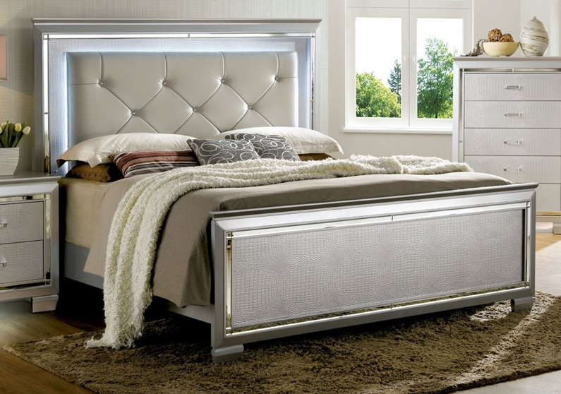 Furniture Of America Balitoria Idf 7979sv Led Bed In Silver