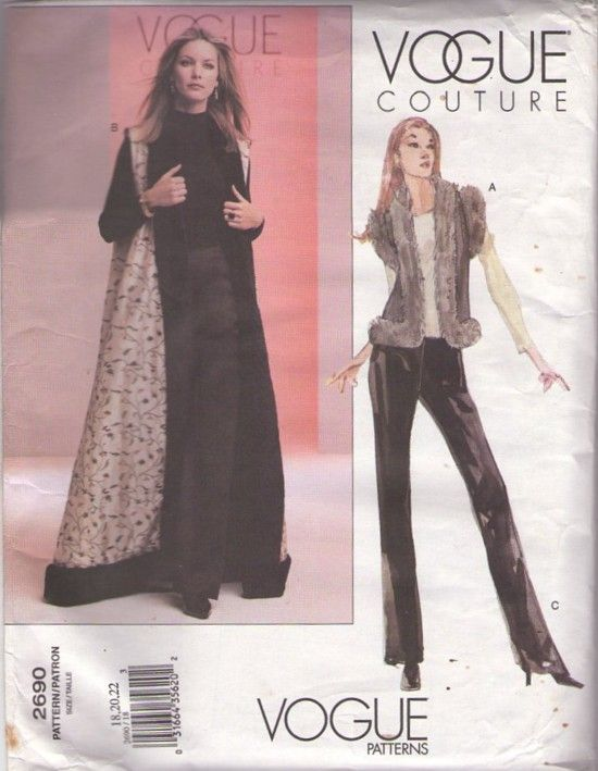 Vogue 2690 Retro 2002 Sewing Pattern Vogue Couture Faux Fur Lined ...