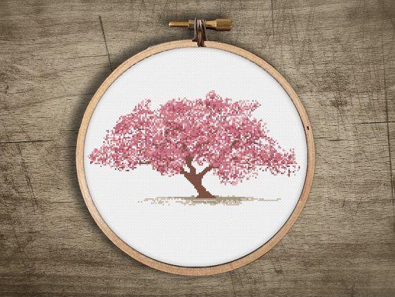 Asian Cherry Blossom Tree Cross Stitch Pattern Vintage Etsy Cross Stitch Tree Cross Stitch Embroidery Embroidery Patterns Vintage