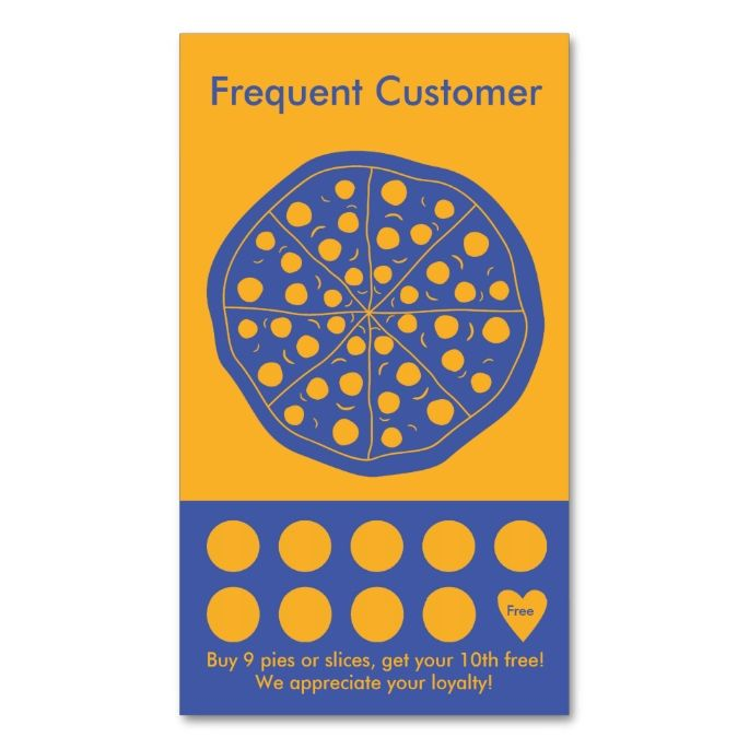Pizza Loyalty Business Card Stamp Card Business Cards Template - Business loyalty card template