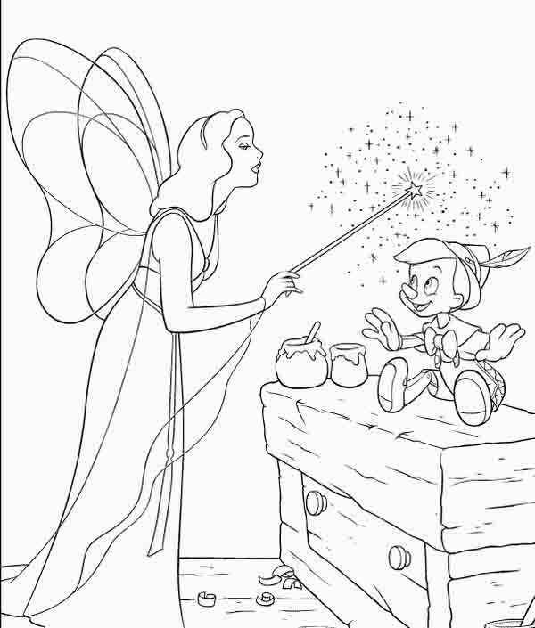 coloring pages fairies | Pinocchio and fairy coloring page | pages ...