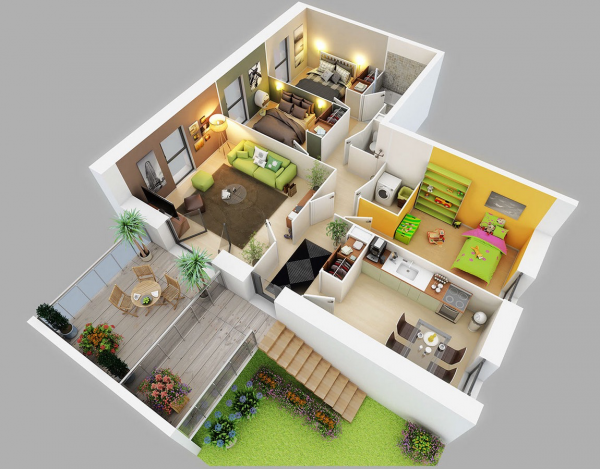 25 Three Bedroom House Apartment Floor Plans Desain Rumah