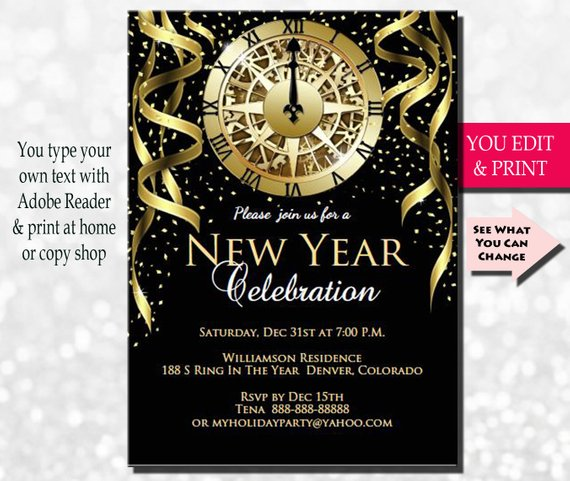 New Years Invitation New Years Party Invitation New Years Etsy New Years Eve Invitations Invitation Template Holiday Party Invitations