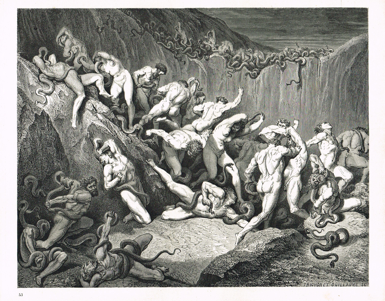 La Divine Comedie L Enfer Illustration De Gustave Dore Gravee Par Monvoisin Planche 53 Divine Comedie Enfer De Dante Gustave Dore