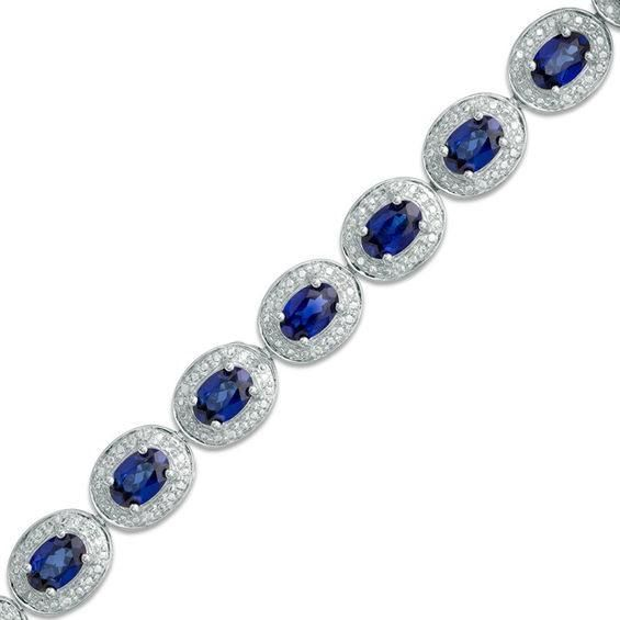 Zales Emerald-Cut Lab-Created Blue Sapphire and Diamond Accent Bracelet in Sterling Silver - 7.25 X0VwY2JEcw