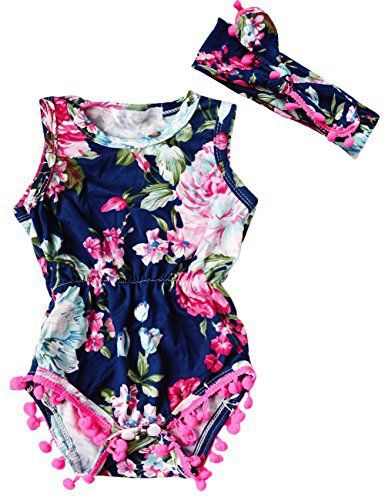 Navy Floral Romper Trendy Cheap Baby Clothes Online Kids