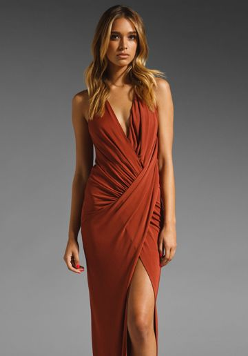 ac7fc9db48e4 In my next life. . . HAUTE HIPPIE Asymmetrical Draped Gown in Henna ...