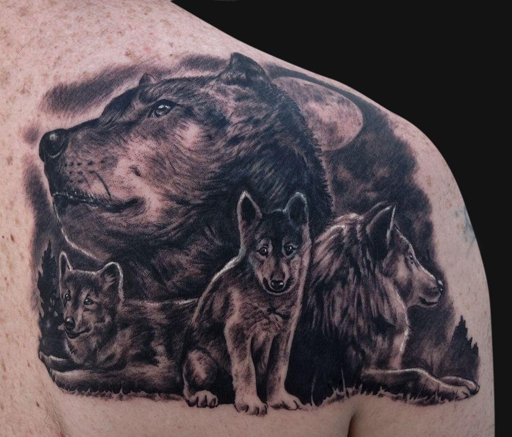 Jamie Lee Parker Wolf Family Tattoo Tattoos And Fine Art Tatoveringer