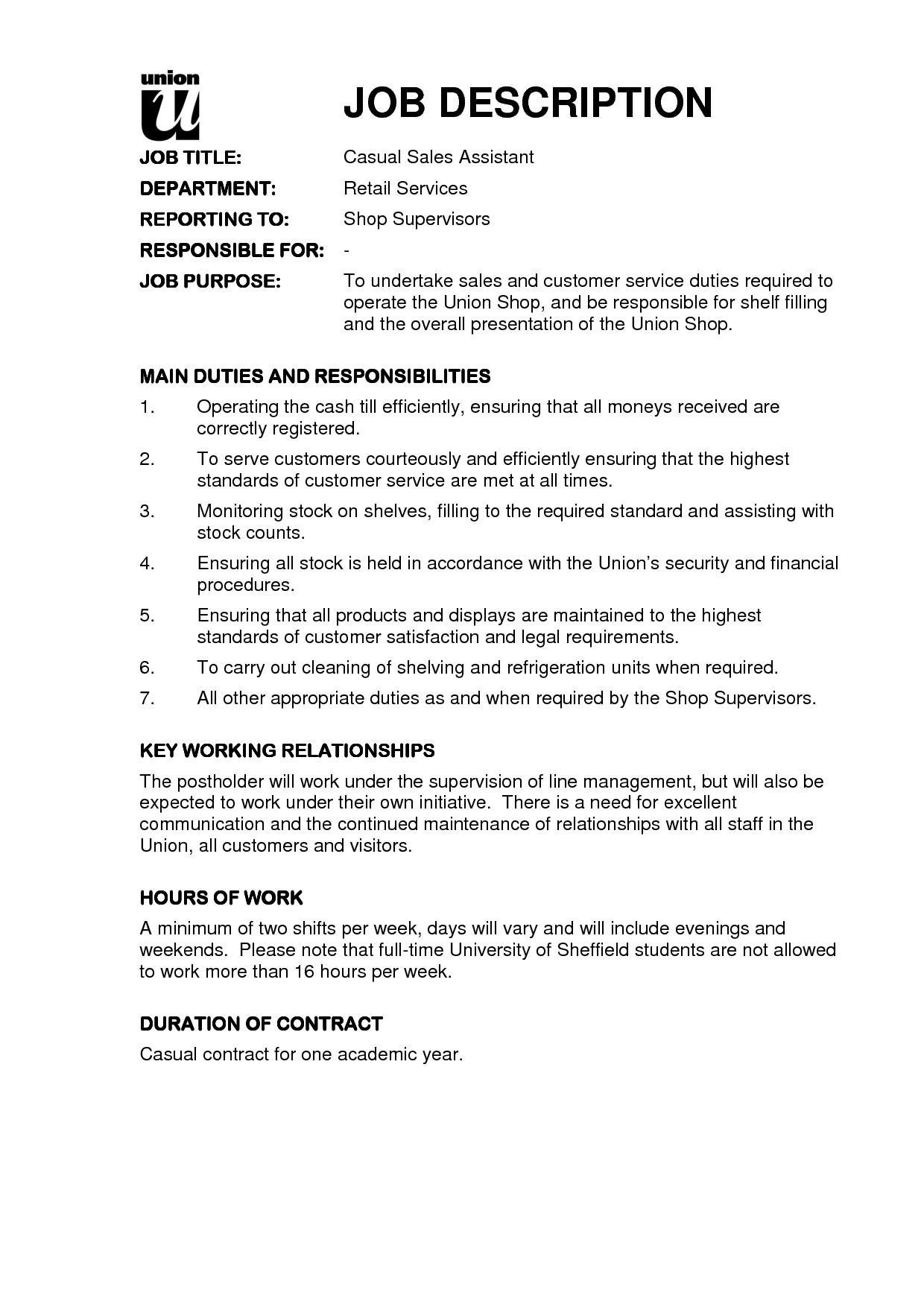 Resume Examples Job Descriptions Descriptions Examples Resume