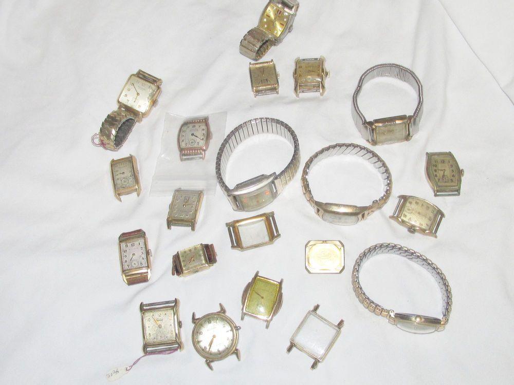 Lot of 18 Antique Gent's Mechanical Watches Repair Elgin Wittnauer Bulova Benrus #MixedLot