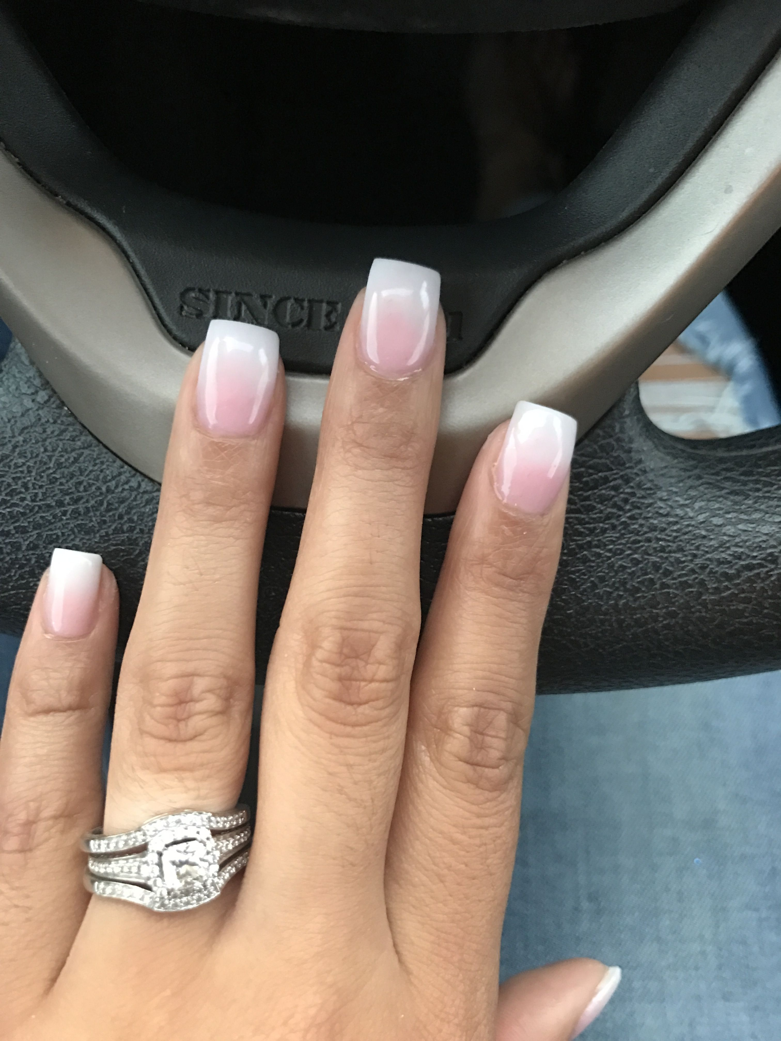 French Ombre Nails With Images Square Acrylic Nails Ombre