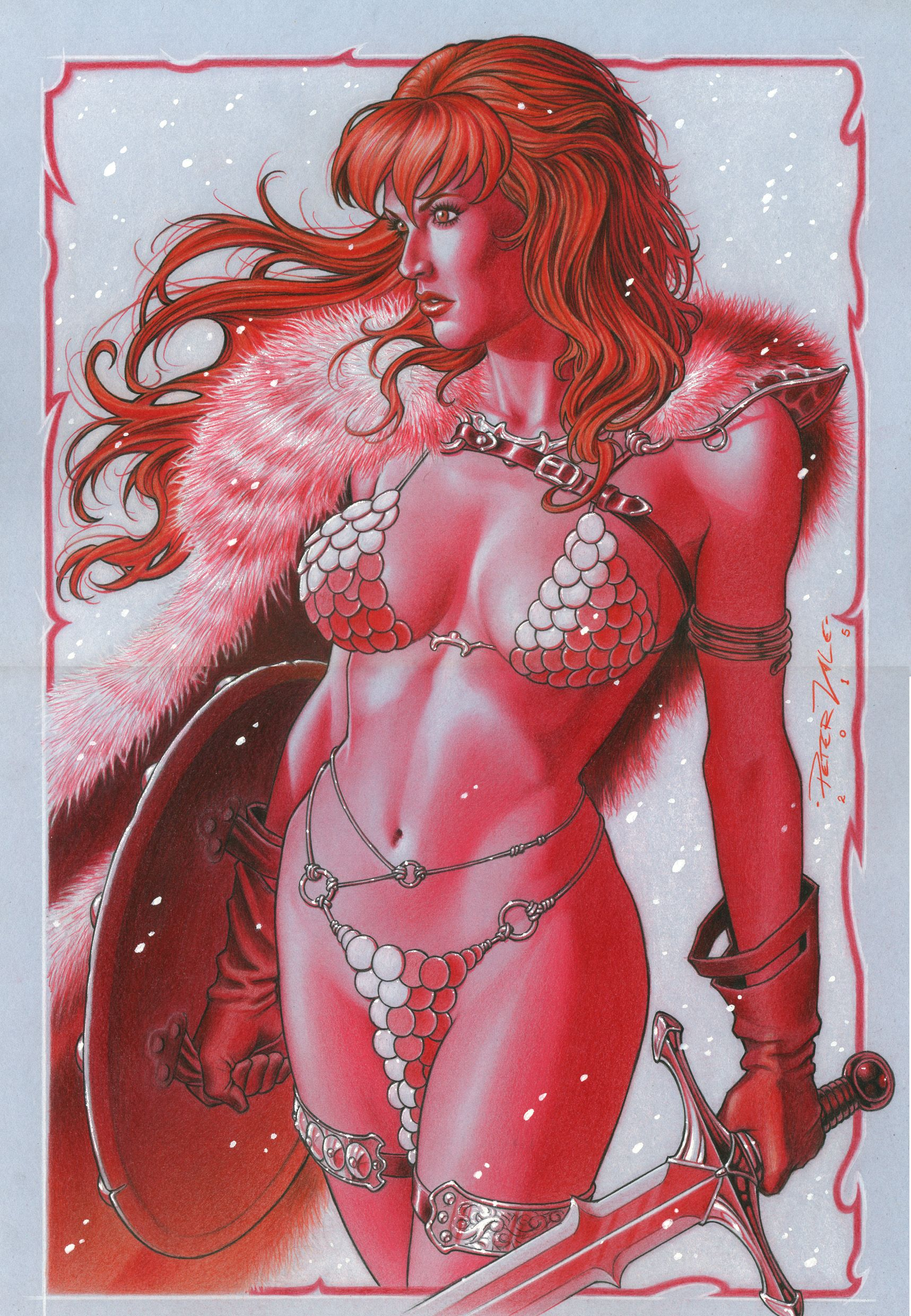 Red sonja- lápis de cor e tinta branca em papel cartão cinza. Red sonja- crayons and white paint in gray cardboard