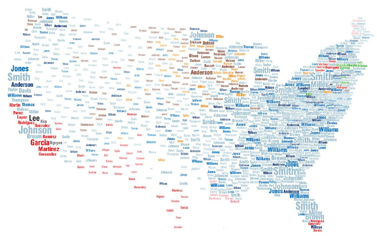 Map Of Common US Surnames That Larger The Name The More Common - Us map full names