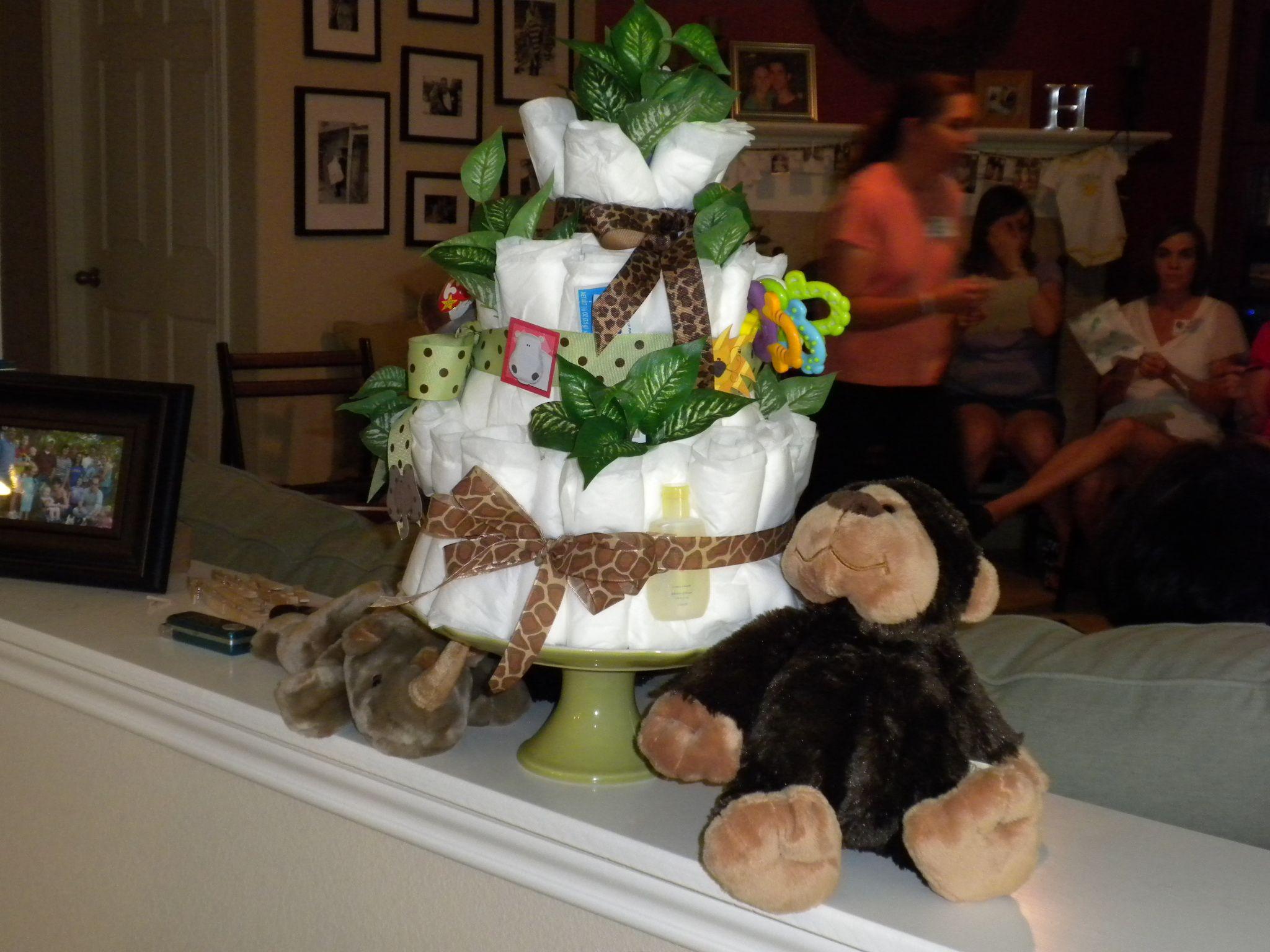 jungle baby shower!  diaper cake