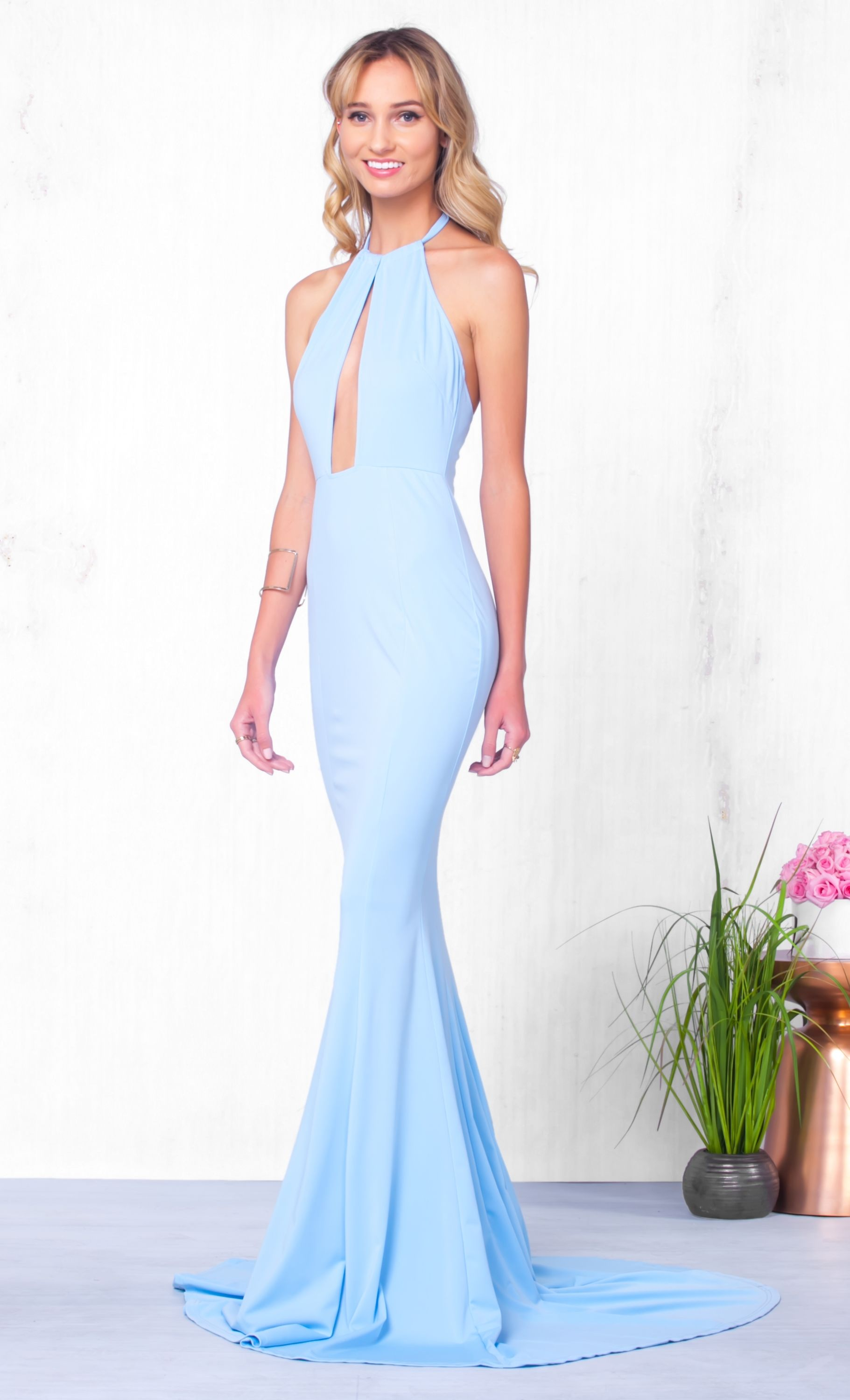 Dream on Dreamer Light Blue Sleeveless Cut Out Halter Mermaid Maxi ...
