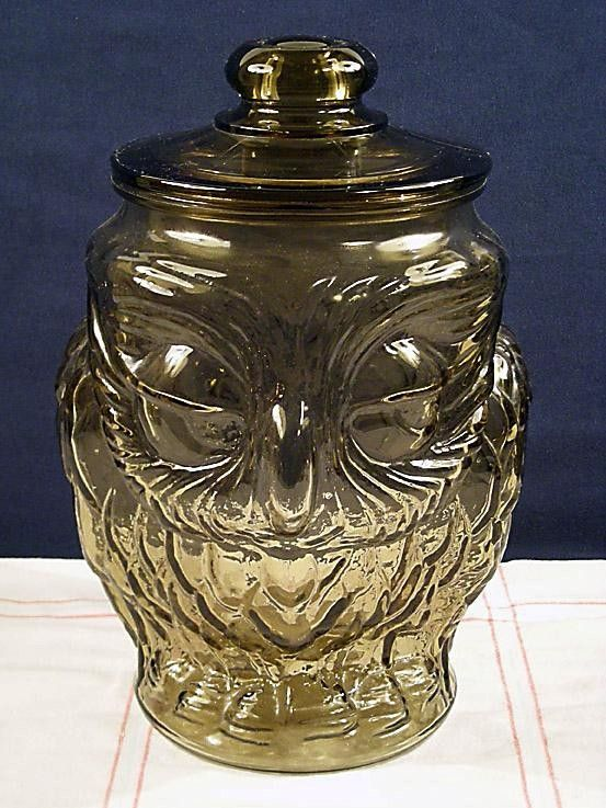 Fun Vintage Clear Class Owl Cookie Jar Or Canister With Lid Owl Cookie Jar Owl Decorative Jars