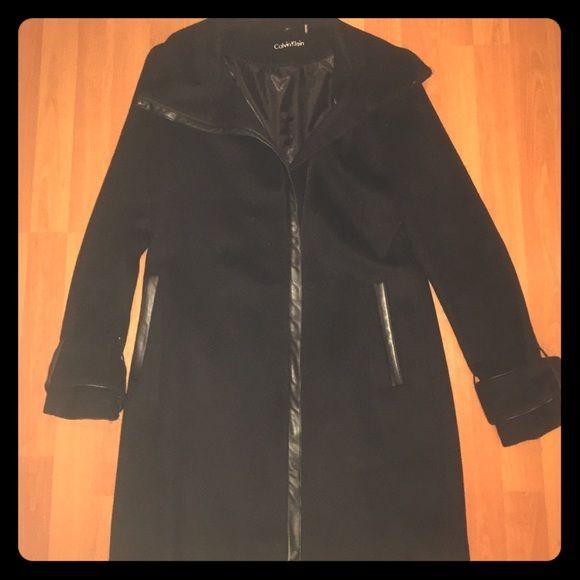Calvin Klein size 6 pea coat (60% wool) Black wool coat with black leather trim Calvin Klein Jackets & Coats Pea Coats