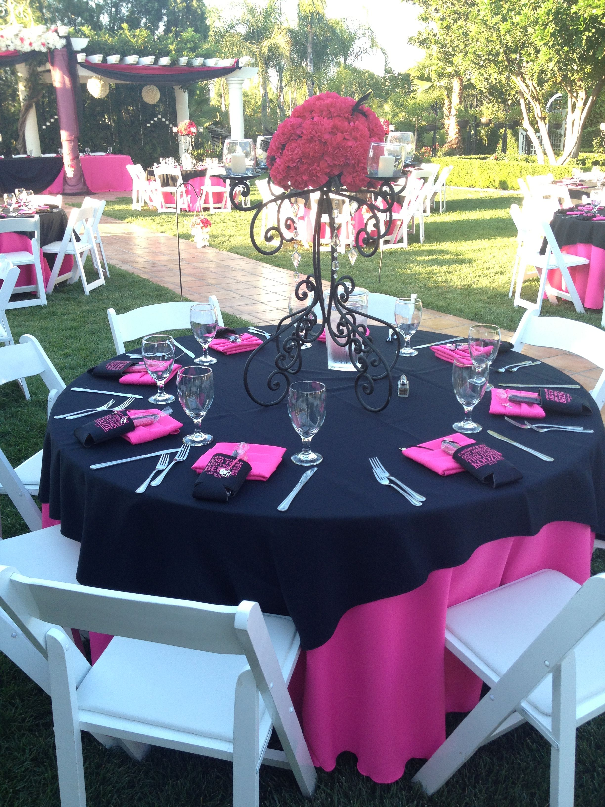 Black And Fuchsia Table Setting Wedding