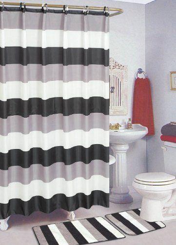 Best Price On Black White 15 Piece Bathroom Set Bath Rugs Shower Curtain